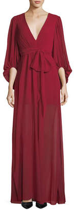 Halston Plisse Full-Sleeve Evening Gown
