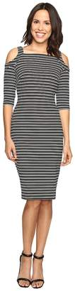 Christin Michaels Lana Cold Shoulder Striped Midi Dress Women's Dress
