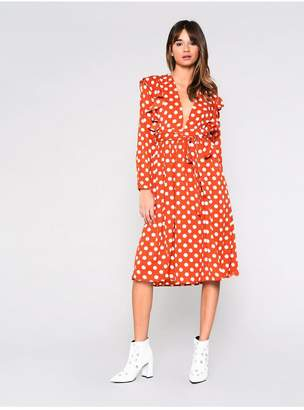 Topshop Polka Dot Midi Dress by Glamorous