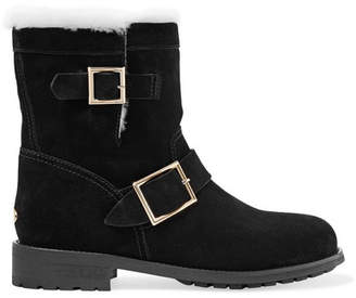 Jimmy Choo Youth Shearling-lined Suede Ankle Boots - Black