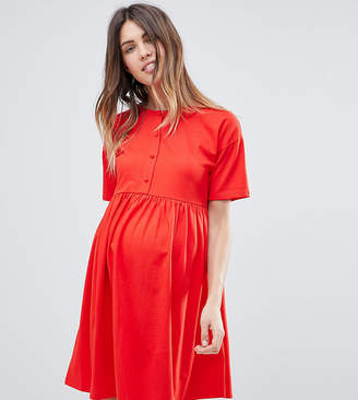 Asos Button Front Short Sleeve Smock Dress