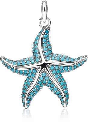 Thomas Sabo Blackened Sterling Silver Starfish Pendant w/Turquoise Stone glass-ceramic Stones