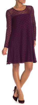 Nina Leonard Sheer Flocked Dot Mesh Trapeze Dress