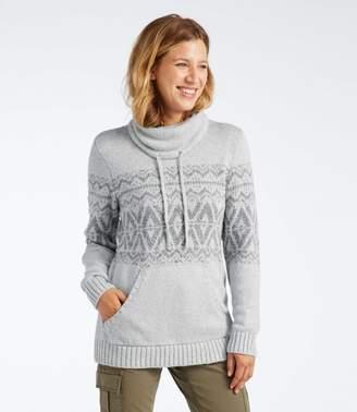 Women's Cotton Ragg Sweater, Cowl Pullover Fair Isle