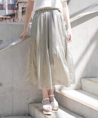 Heather (ヘザー) - サテンプリーツロングスカート