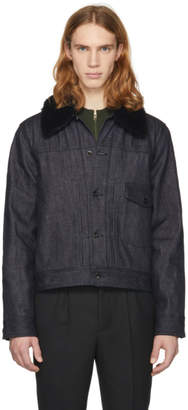 Rag & Bone Indigo Denim Sherpa Bartack Jacket