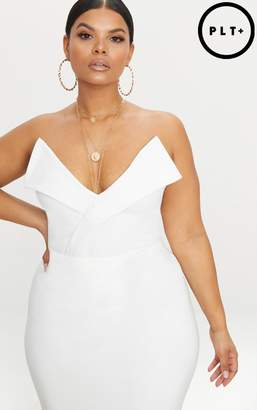 PrettyLittleThing Plus White Tux Detail Bandeau Thong Bodysuit