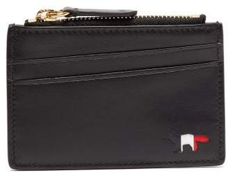 Maison Kitsuné - Leather Zipped Cardholder - Mens - Black