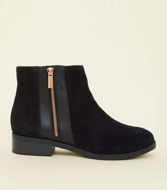 0553de0a0e5 New Look Wide Fit Black Suede Zip Side Ankle Boots