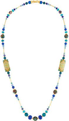 Jose & Maria Barrera Long Decoupage Necklace w/ Agate Beads