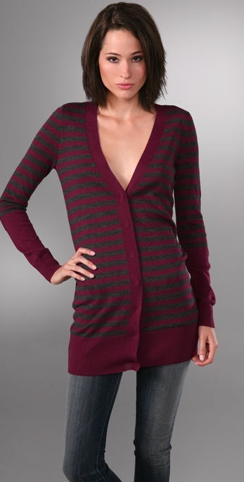 Juicy Couture Striped V Neck Cardigan