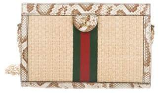 Gucci 2019 Small Straw Ophidia Shoulder Bag Natural 2019 Small Straw Ophidia Shoulder Bag