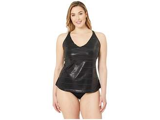 Nike Plus Size 6:1 Shine Stripe Cross-Back Tankini