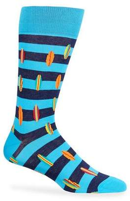 Neiman Marcus Men's Surf Board Stripe Socks
