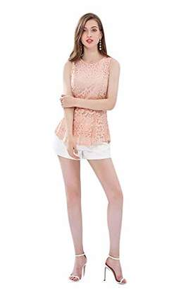 UP Ultrapink Missy Womens Sleeveless Allover Lace Designer Peplum Top