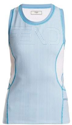 Fendi Logo Print Striped Performance Tank Top - Womens - Light Blue