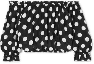 Rixo Kerry Off-the-shoulder Polka-dot Cotton And Silk-blend Poplin Top - Black