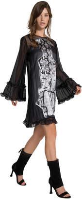 Max Studio silk satin/chiffon devore dress