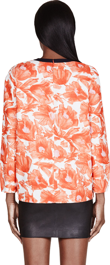 Mother of Pearl Orange Floral Issik Blouse