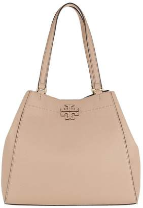 Tory Burch McGraw Carryall Tote Pebbled Leather Devon Sand