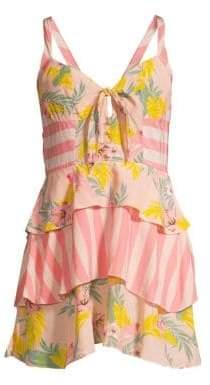 For Love & Lemons Antigua Mixed Print Mini Dress