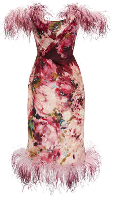 Marchesa Feather-Trimmed Floral-Print Silk Dress Size: 2
