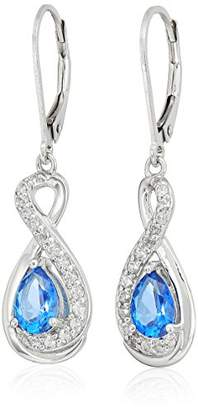Swarovski Platinum Plated Sterling Silver and White Topaz Infinity Teardrop Lever Back Drop Earrings