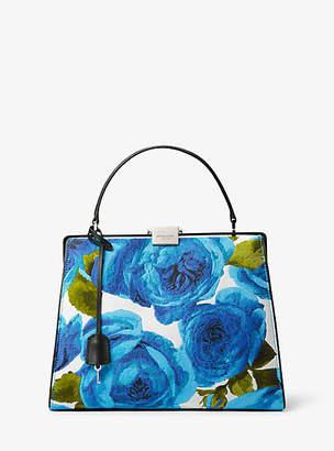 Michael Kors Simone Rose Brocade Top-Handle Bag