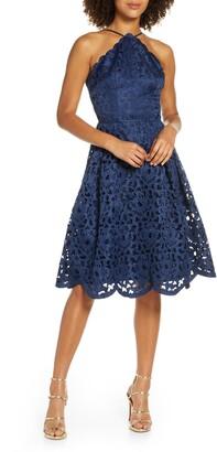 Chi Chi London Claudetta Fit & Flare Lace Dress