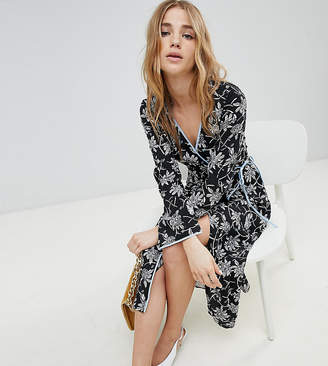 Miss Selfridge Floral Print Wrap Front Midi Dress