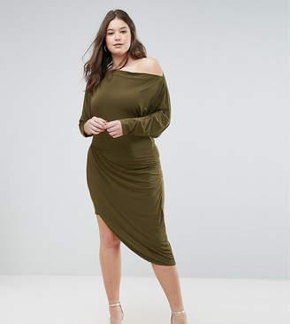 Club L Plus Asymetric Slinky Wrap Dress