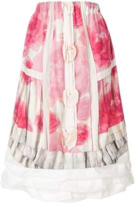 Comme des Garcons floral print layered midi skirt