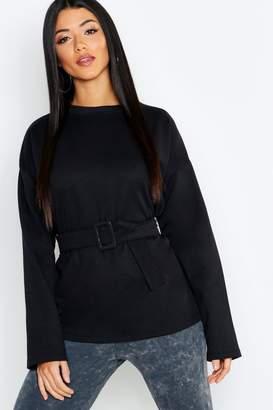 boohoo Self-Buckle Long Sleeve Sweatshirt