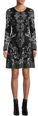 INC International Concepts Jacquard Long-Sleeve Sweater Dress