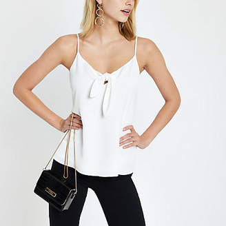 River Island White bow front cami top