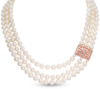 Zales Cultured Freshwater Pearl and Lab-Created White Sapphire Necklace in Sterling Silver with 14K Rose Gold Plate - 20""