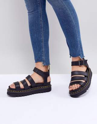 Dr. Martens Blaire Vegan Strappy Flat Sandals in Black