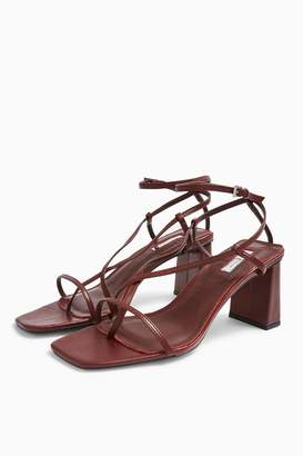 Topshop NICO Leather Burgundy Set Back Heels