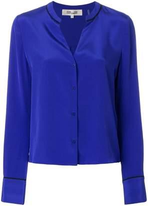 Diane von Furstenberg contrast collar v-neck shirt