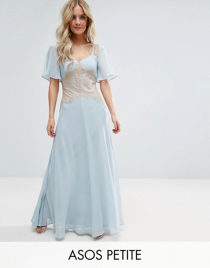 AsosASOS Petite ASOS PETITE WEDDING Contrast Lace Panel Maxi Dress