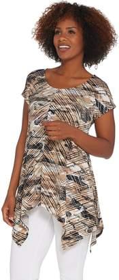 Women With Control Attitudes by Renee Como Jersey Printed Handkerchief Hem Tunic