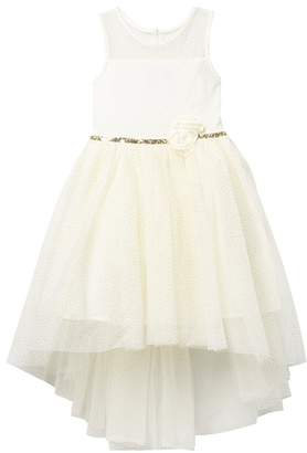 Zunie Sleeveless Glitter Dot Mesh Illusion Dress (Little Girls)