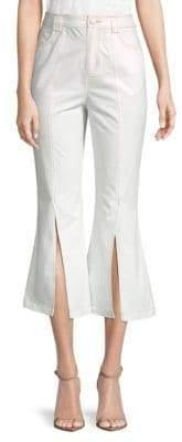 ENGLISH FACTORY Front Split Cotton Wide-Leg Pants