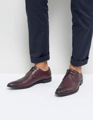 Frank Wright Toe Cap Derby Shoes In Burgundy Leather