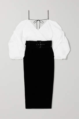 Rasario Off-the-shoulder Belted Velvet And Shantung Midi Dress - Black