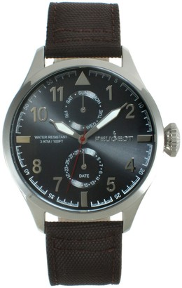 Peugeot Men's Stainless Steel Aviator Nylon Band Watch