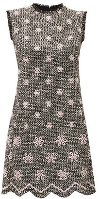 Giambattista Valli Embroidered Flower Boucle Tweed Shift Dress - Womens - Black Pink