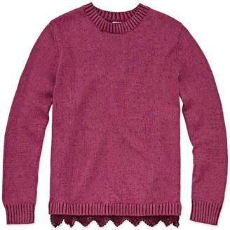 Arizona Long Sleeve Lace Hem Sweater - Girls' 4-16 & Plus
