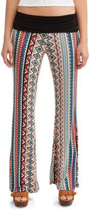 Eye Candy Juniors' Printed Peached Foldover Waistband Wide Leg Pant