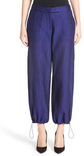Women's Armani Collezioni Crinkle Cotton & Silk Blend Pants